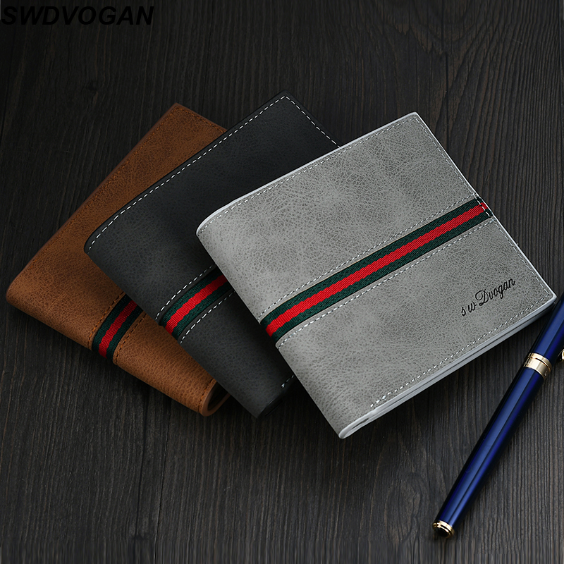 BagSarcar PU Leather Men Wallets Male Money Purses New Classic Solid Pattern Designer Short Money Bag Soft ID Card Case BS-7