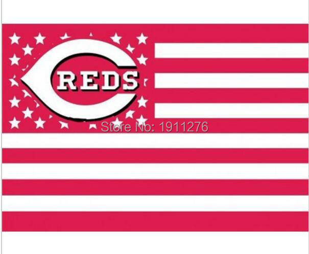Cincinnati Reds USA star stripe MLB Premium TeamBaseball Flag 3X5FT home decoration Flying 144* 96cm Custom flag