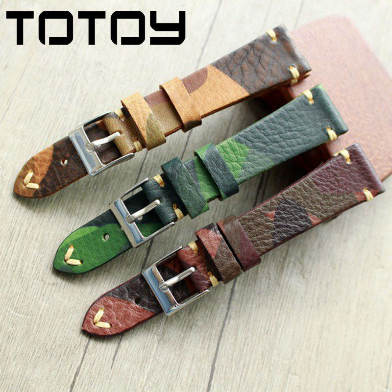 16mm Camouflage Vintage Suede Leather