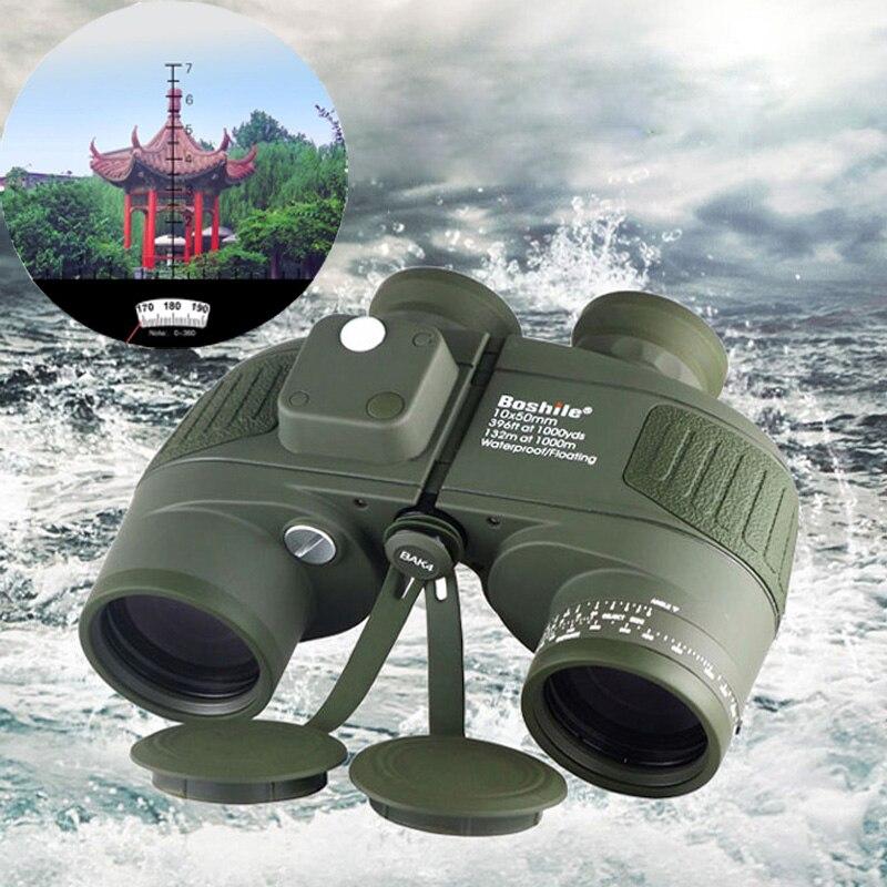 Boshile 10X50 Binoculars Waterproof Marine Binoculars Waterproof Digital Compass Hunting Telescope High power Lll night vision
