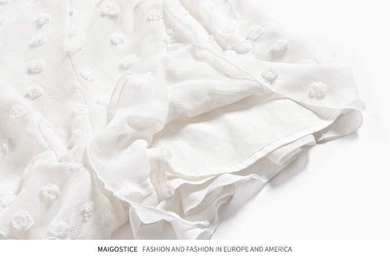 Langarm Frauen Weiß Chiffon 8