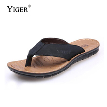 YIGER NEW Flip Flops Men Beach Slippers Summer Shoes Leather Fashion With Soft Sole Trendy Breathable Easy To Match 0034