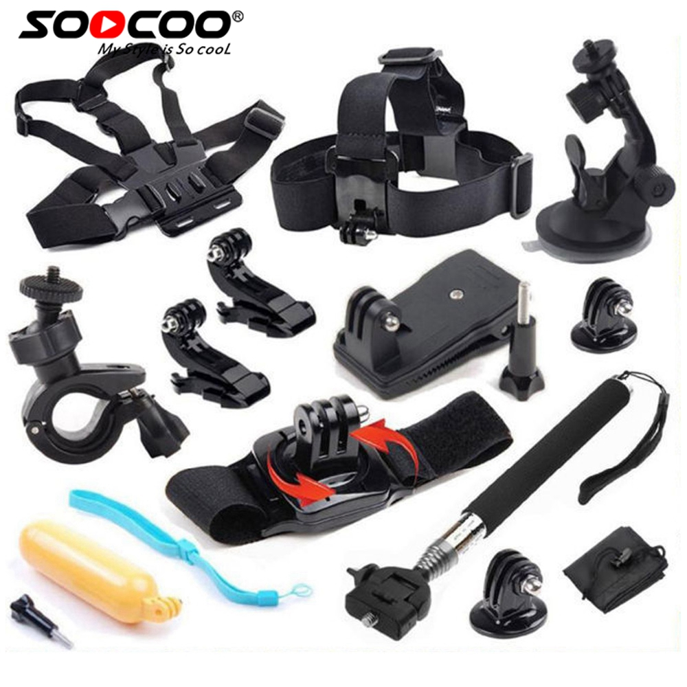 SOOCOO Action Cam Accessories Set for SOOCOO  GoPro hero 4  AKASO SJCAM XIAOMI YI Sport Action Camera Accessories set gopro accessories head belt strap mount adjustable elastic for gopro hero 4 3 2 1 sjcam xiaomi yi camera vp202 free shipping