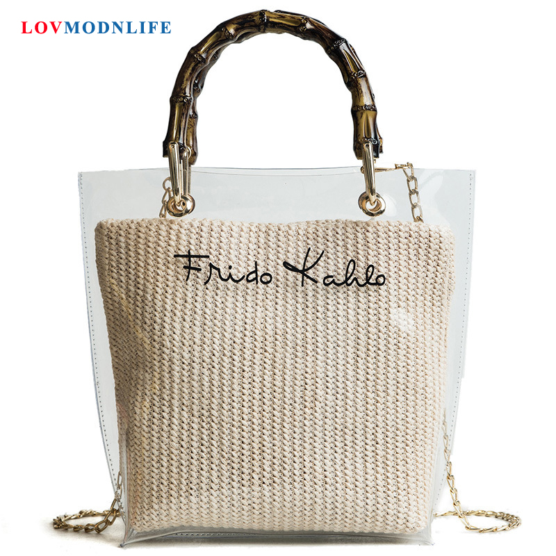 Luxury Women Summer Beach Bag Transparent Straw Ladies HandBags Chain Woman Clear Beach Bag Shoulder Crossbody Messenger Bags in Shoulder Bags from Luggage Bags