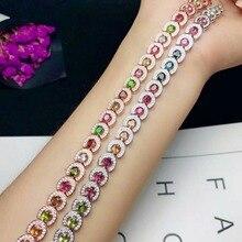 SHILOVEM 925 sterling silver Natural tourmaline bracelets new fine Jewelry women wedding trendy wholesale yhl030409agx