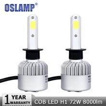 Oslamp 2PCS 72W H1 COB LED Car Headlight Bulbs Auto Led Headlamp 8000lm 6500K Fog Lights DRL for Toyota Honda Nissan Mazda Ford