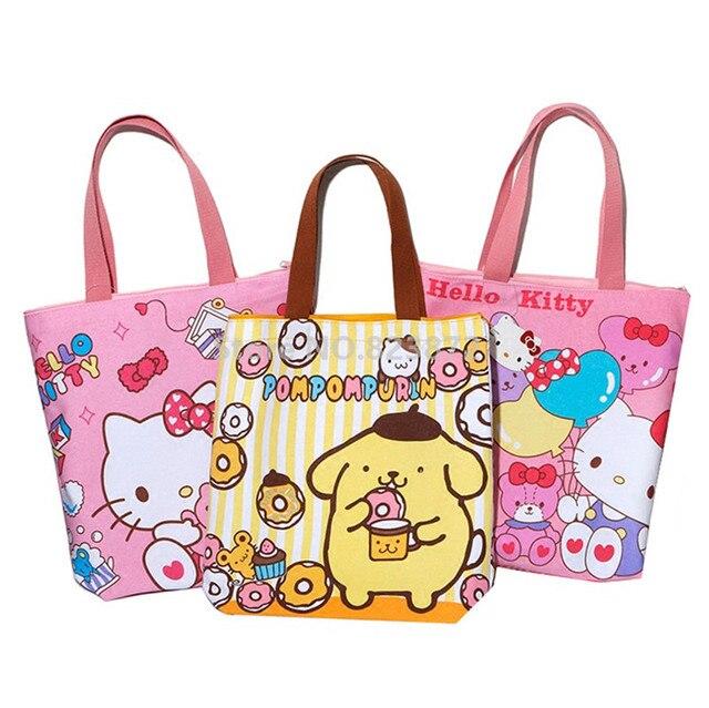 Cute Hello Kitty Cat Canvas Bag Women Shoulder Bag Large Handbag Kawaii  Cartoon Printing Girls School Book Shopping Bag Zipper 38eec8b1be