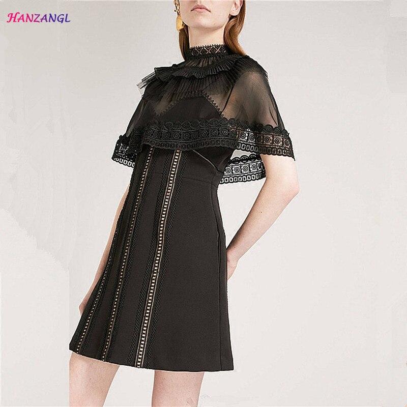 HANZANGL New Arrive Summer Dresses Womens Cloak Sand Network Patchwork Black Lace Dress Sexy Backless Causal