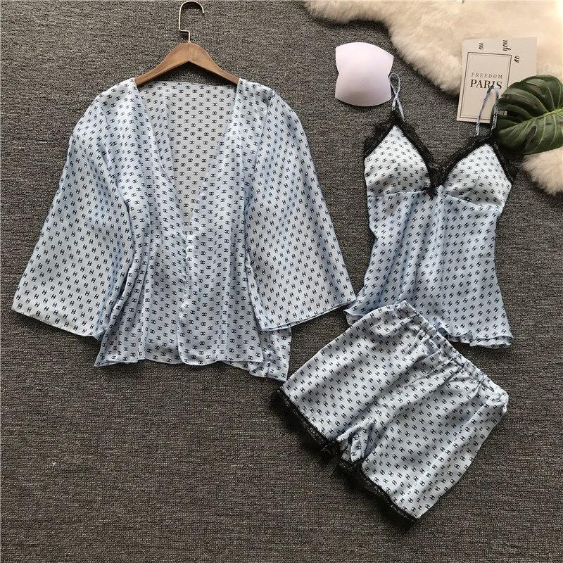 Ice With Pad Nightdress Camisole Shorts Robe 3 Pcs Set Woman Sexy Lace Pajamas