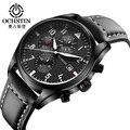Militar Chronograph Mens Relógios Top Marca de Luxo de Couro Genuíno Multifuncional À Prova D' Água Esporte Relógio de Quartzo Para Homens relojes