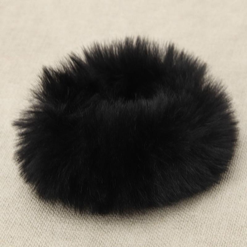 Модная эластичная резинка из искусственного кроличьего меха для девочек, резинка для волос, держатель для хвоста, эластичная плюшевая повязка для волос, кольцо, аксессуары для волос - Цвет: BK