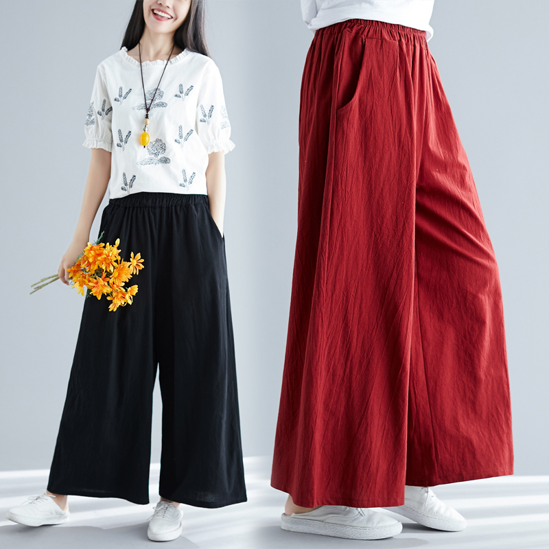 2019 Spring women long   wide     leg     pants   plus size   pants   cotton linen trousers Summer full long casual   pants   M 5xl 6XL 7XL