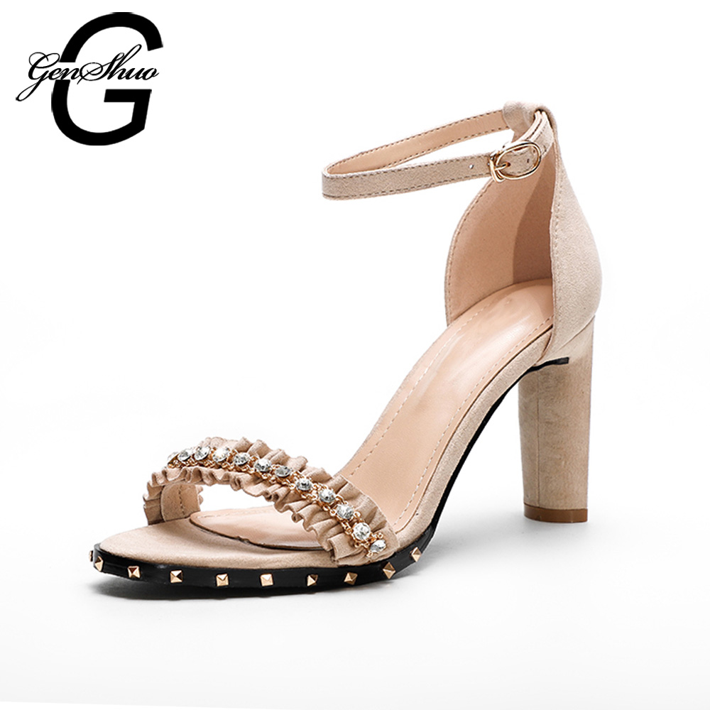 657da7878f GENSHUO High Heeled Sandals Shoes Women Summer Ankle Strap Ruffles Crystal  Rivets Block Heel Sandals Ladies Flock Size 35 39 -in High Heels from Shoes  on ...