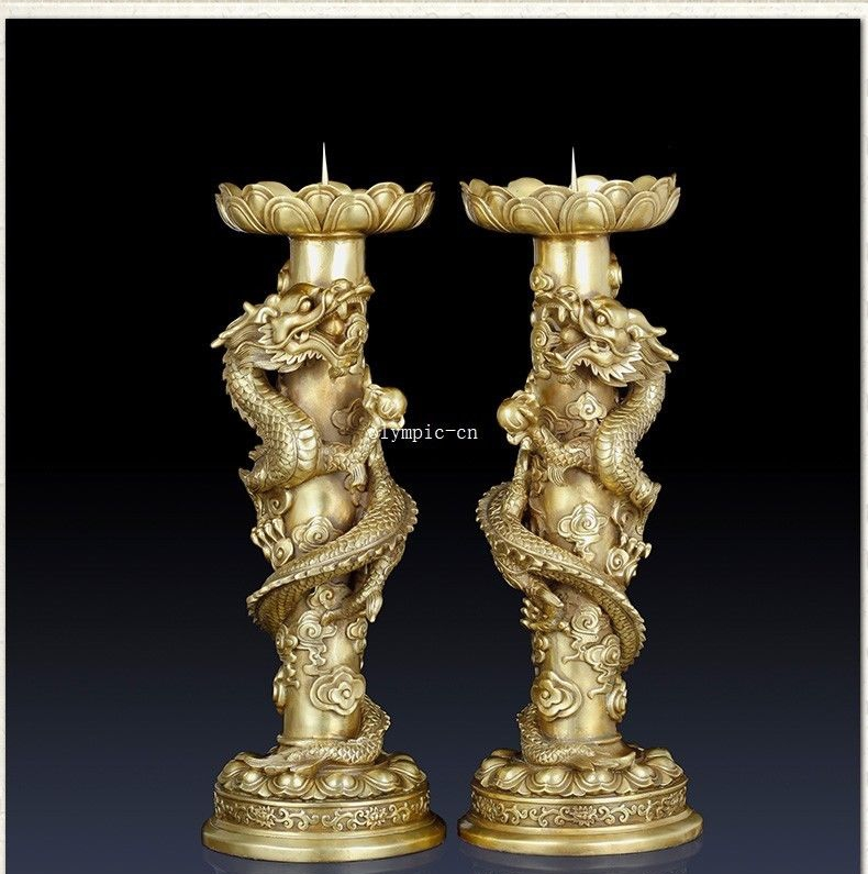 Pair 16 bronze red copper home fengshui auspicious beast dragon candlestickPair 16 bronze red copper home fengshui auspicious beast dragon candlestick