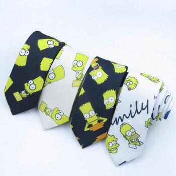 Yellow Simpsons pattern black and white navy blue fashion pop cartoon bow tie warm men's college style trend leisure necktie
