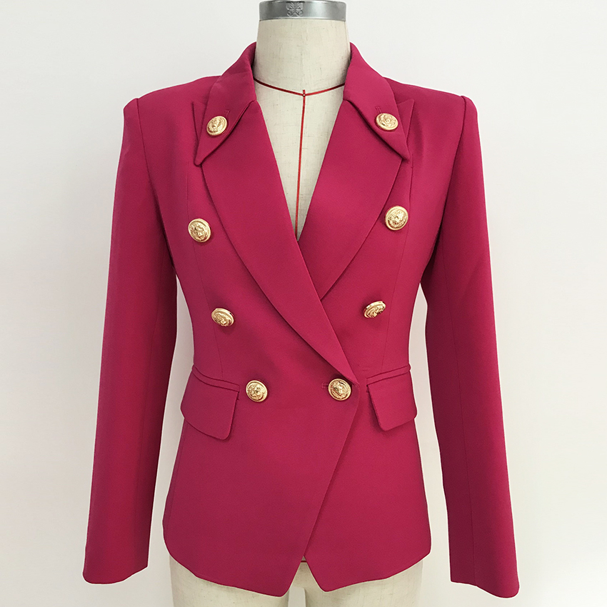 HIGH STREET 2019 Stylish Designer Blazer Women's Double Breasted Lion Buttons Slim Fitting Blazer Jacket