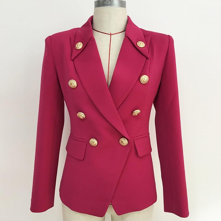 HIGH STREET 2020 Stylish Designer Blazer Women's Double Breasted Lion Buttons Slim Fitting Blazer Jacket