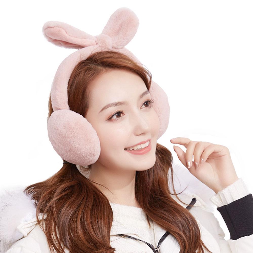 1Pcs Ladies Girls Teens Adjustable Warm Faux Plush Rabbit Earmuffs Foldable Removable