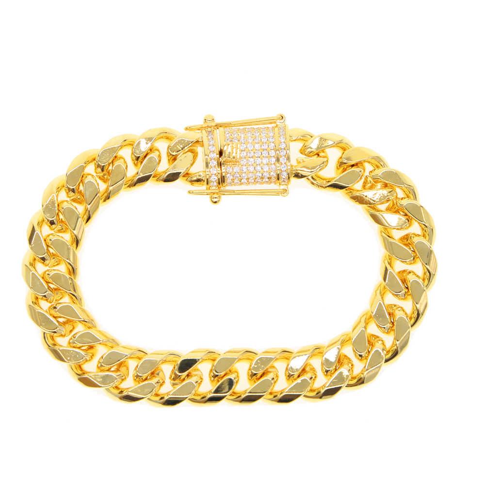 2018 moda punk ograniczenia wysokiej jakości mężczyźni bransoletka łańcuch luksusowe biżuteria męska złoty kolor hip pop dziki urok mężczyzna bransoletka 19 cm 21 cm