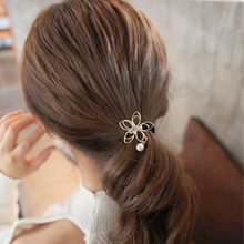 Girls Hair Accessories Rhinestone Tiara Hair Rope Hollow Flower Elastic Headband Rubber Hair Bands(China)