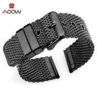 AOOW Milanese Loop Wrist Strap 18mm 20mm 22mm 24mm Universal Stainless Steel Watch Band Bracelet Pink Buckle Belt