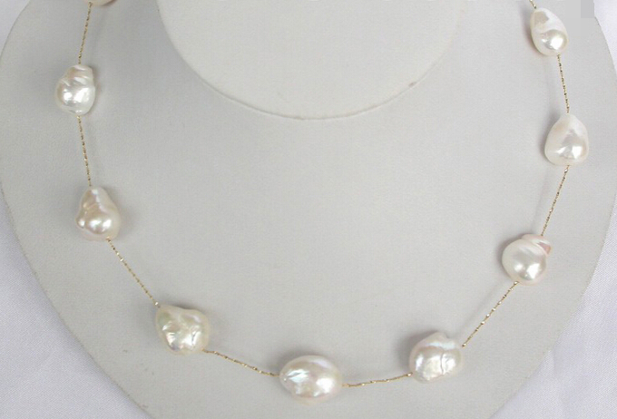 ddh002656 stunning big baroque white pearls 14K gold chain necklace