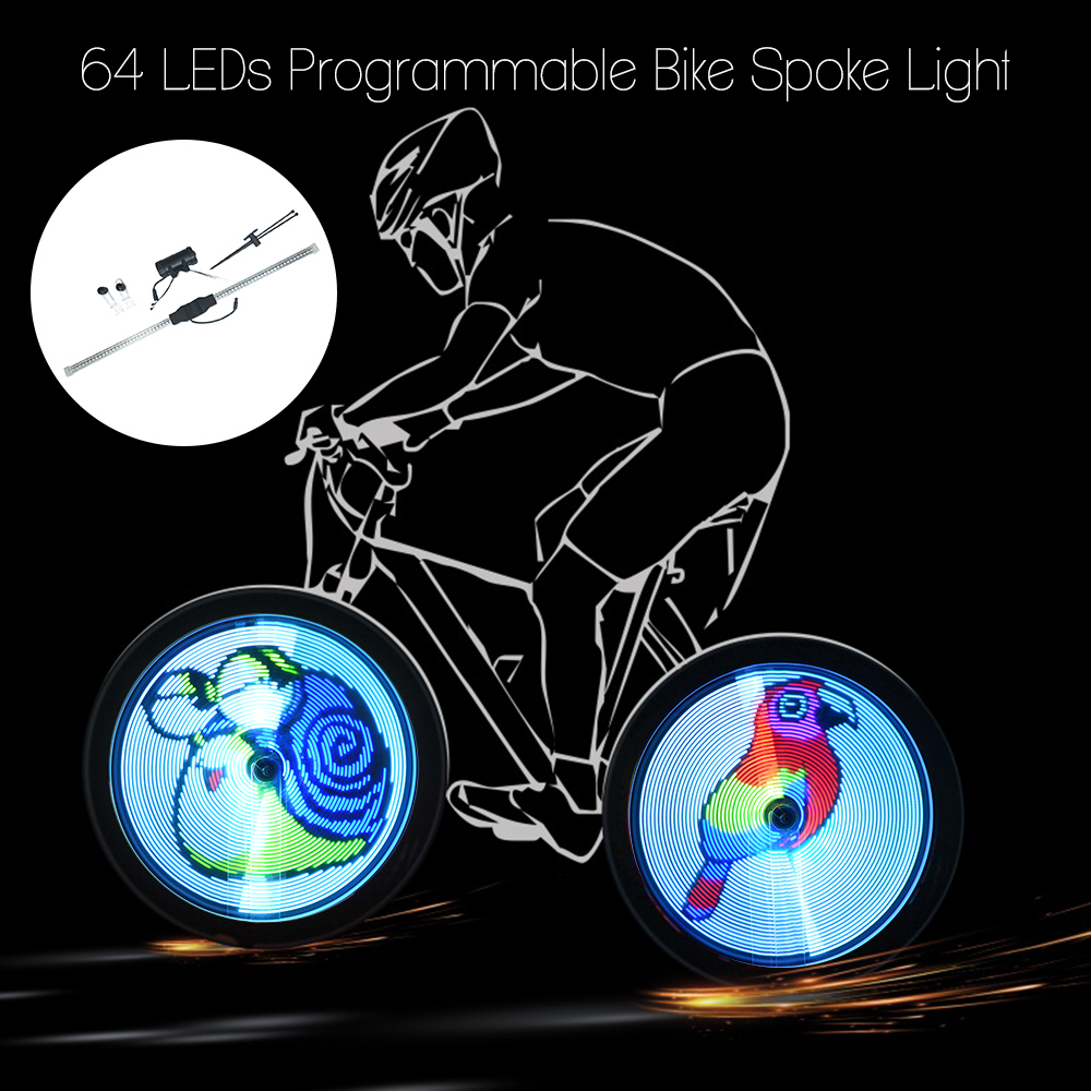 64/128 LED DIY Bicycle Light Bike Wheel Spokes Light Motor Tire Lamp Cycling Light Screen Display Image For Night Cycling YQ8003