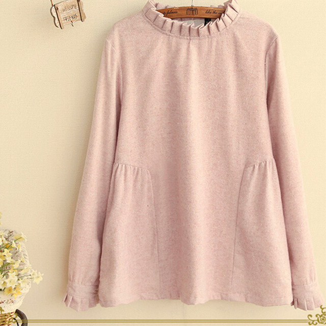 Japanese Women's Spring Casual Sweet Long Sleeve Ruffled Stand Collar Back Button Solid  Mori Girl Femme Shirt Blouse U076