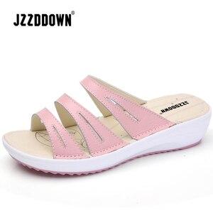 Image 2 - 本革の女性のビーチフリップは靴をプ女性の夏ウェッジカジュアル女性プラットフォームサンダル靴