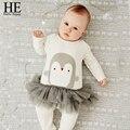 ELE Olá Desfrutar de roupas de outono bebê recém-nascido do bebê roupas de menina manga Longa penguins Animais jumpsuit outfit enfants bebê macacão