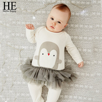 HE Hello Enjoy Baby Clothes Autumn Newborn Baby Girl Clothes Long Sleeve Animal Penguins Jumpsuit Outfit