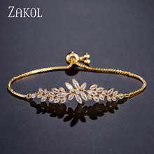 ZAKOL Brand Luxury Flower Design Cubic Zirconia Crystal Zircon Adjustable Drawstring Bracelets for Women Jewelry Gifts FSBP2096