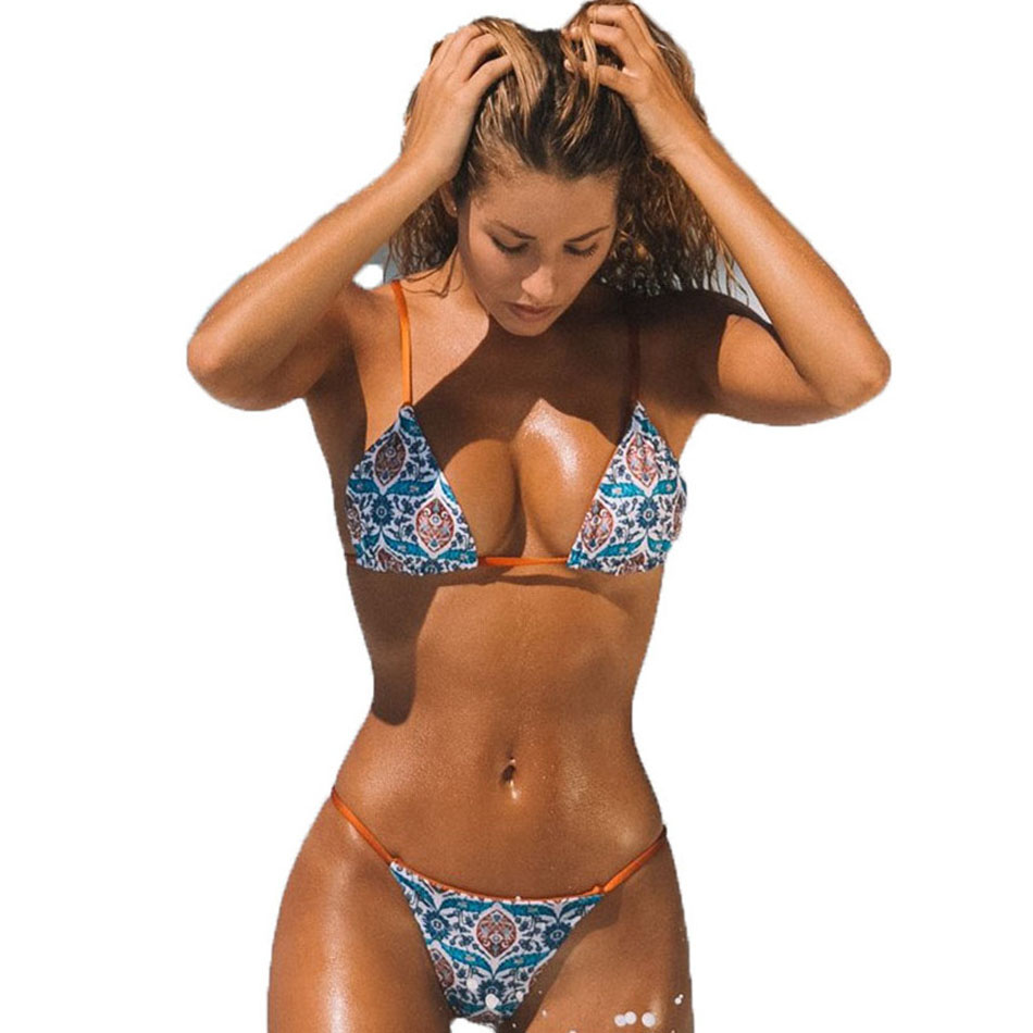 Two pieces Separate Printed bathing suit women Bikini Set Swimsuit Female Swimwear Sexy Bathing Suits Biquini Beach Dress 2019 in Bikinis Set from Sports Entertainment
