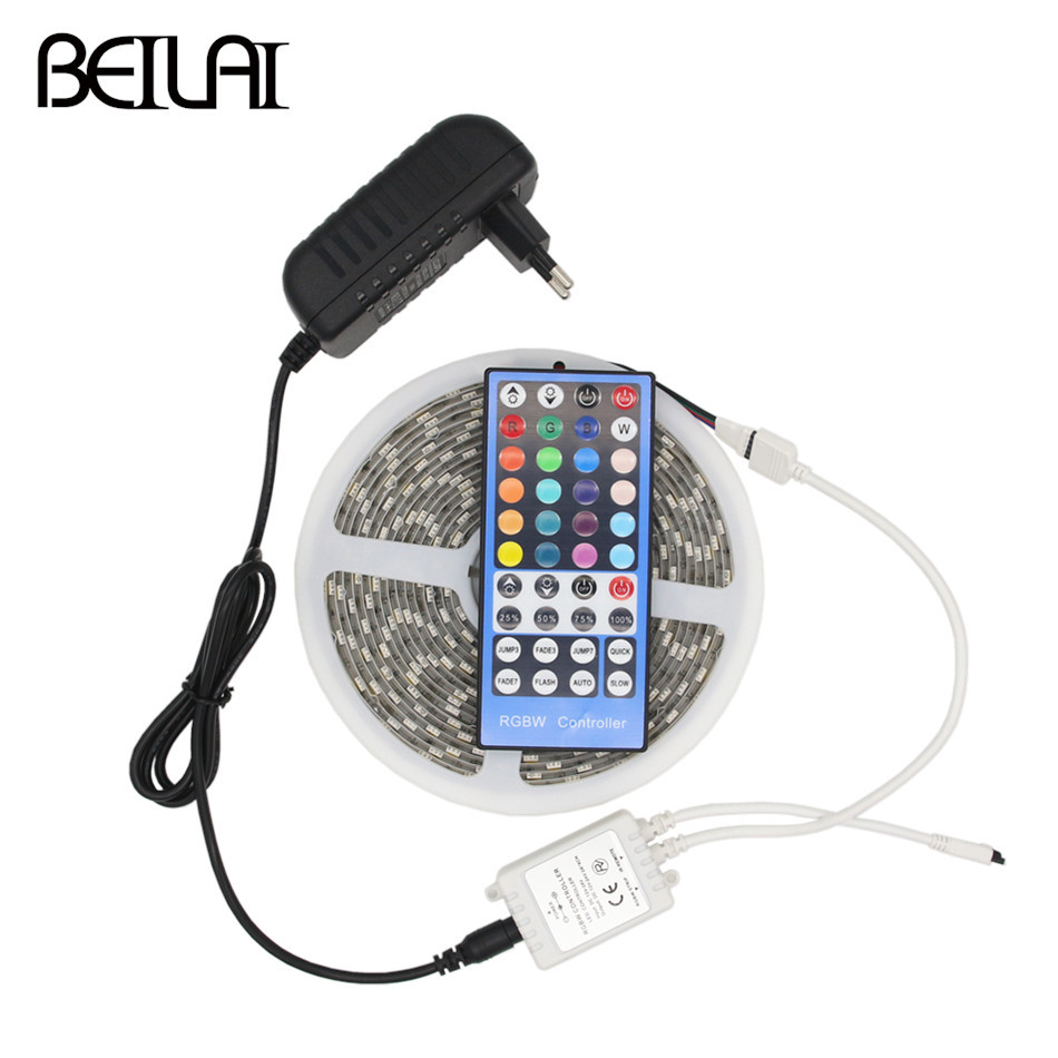BEILAI 5050 RGB LED Strip Waterproof 5M 300LED DC 12V RGBWW RGBW LED Light Strips Flexible Neon Tape Add Remote and 3A 36W Power beilai 5050 rgb led strip waterproof 5m 10m 30led m dc 12v led light strip flexible neon tape with 3a power and 44key remote