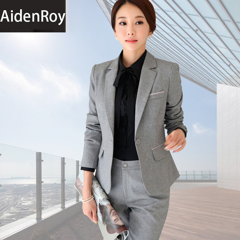 Formal Fashion Women Business suits Sets for work Long sleeved suit lady uniforms office wear pants 1 2 3 pieces