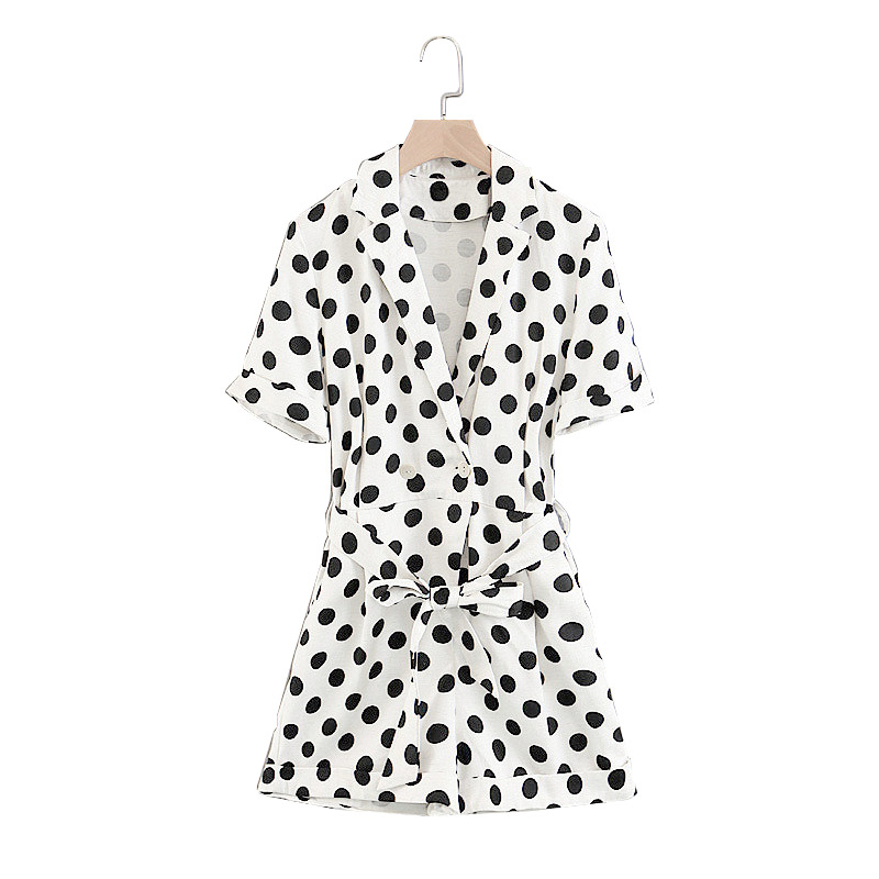 Black Dot Print Lapel Jumpsuit Waist Bow Tie With Short Sleeve Sexy V-neck Double-Breasted 2018 New Summer Style Women Jumpsuit