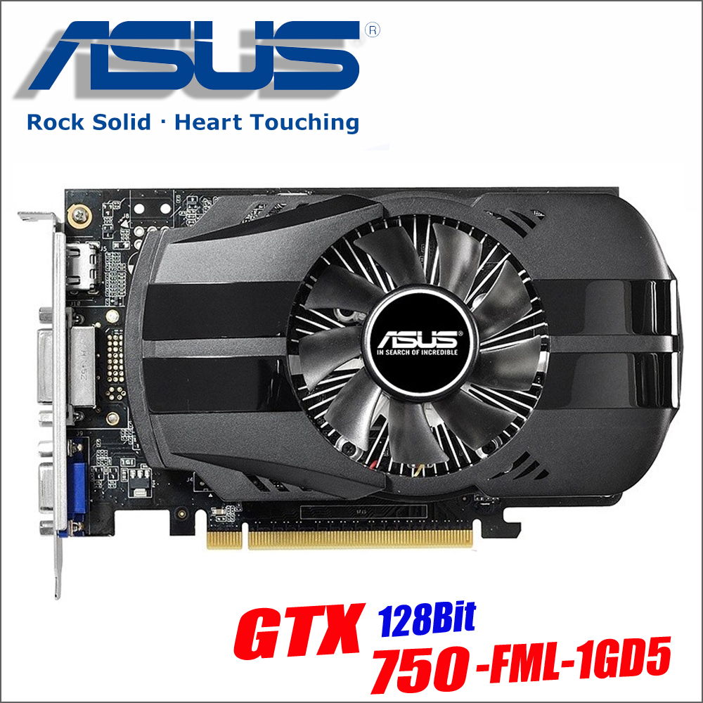 Asus GTX-750-FML-1GD5 GTX750 GTX 750 1G D5 DDR5 128 Bit PC Desktop Graphics Cards PCI Express 3.0 computer Graphics Cards