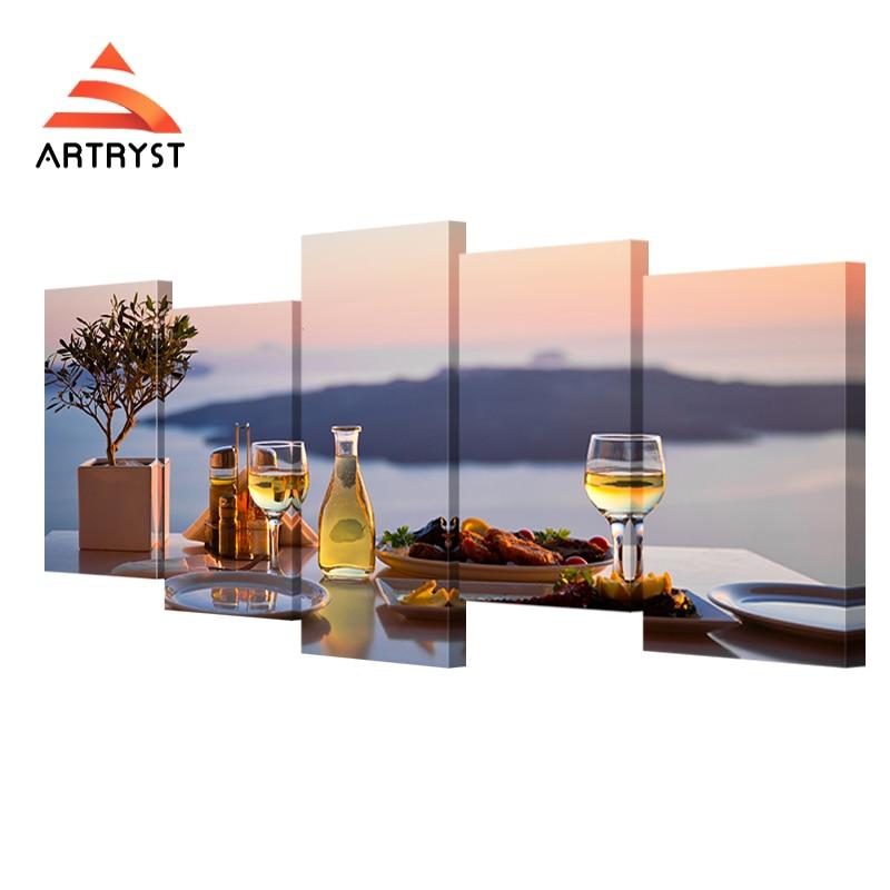 5 panel modulární jídelní stůl sklenice na víno plakát HD tisk plátno moderní bytové dekorace zátiší malba na plátno do obývacího pokoje