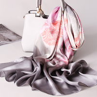 Women 100% Natural Real Silk Scarf 2018 Luxury Print Shawls and Wraps Ladies Vintage Pure Silk Muffler Scarves Neckerchief Long