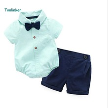 Tonlinker 2018 new High quality summer stripe cotton lapel rompers + suspenders shorts  kids boy sets 9M-24M