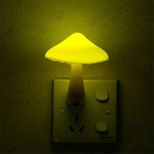 Image 4 - Beiaidi 따뜻한 노란색 버섯 led 밤 빛 센서 제어 침대 옆 테이블 램프 아기 침실 eu 미국 플러그 벽 소켓 빛