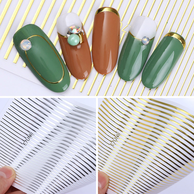 Gold 3D Nail Sticker Curve Stripe Lines Nails Stickers Gradient Adhesive Striping Tape Nail Foil Nail Art Stickers Decals Silver 1