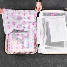Fashion Flamingo Storage Bag Travel Transparent Zipper  Drawstring Tote Organizer For Underwear Toy