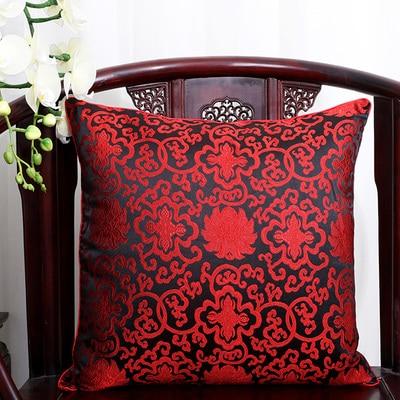 Чехол для подушки для автомобильного стула с цветами 40x40 см 45x45 см 50*50 60*60 китайские красочные диванные Декоративные Чехлы для подушек, шелковая атласная наволочка - Цвет: Черный