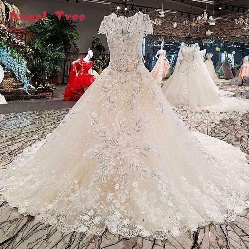 Angel Tree Vestido de noiva casamento zipper short sleeve lace long gown light champagne wedding dresses real photo abiti da