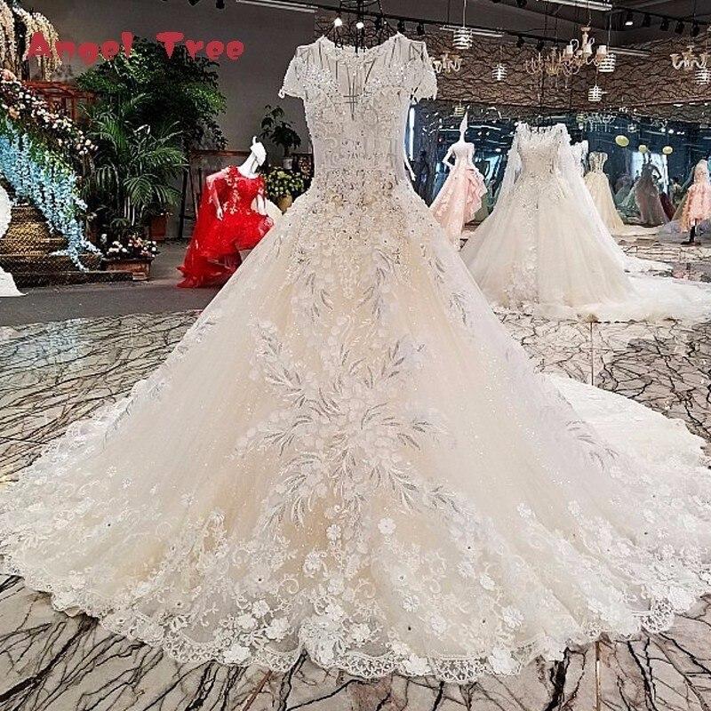 Angel Tree Vestido de noiva casamento zipper short sleeve lace long gown light champagne wedding dresses real photo abiti da