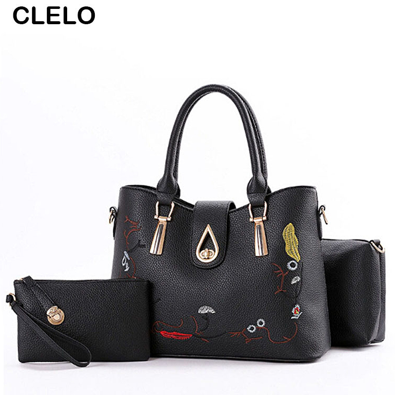 CLELO 2017 New Designer Embroidery Floral Women Handbag Female Pu Leather Shoulder Bag Ladies Large Capacity Tote Bag 3PC/Set 2017 spring new women sweet floral embroidery pastoralism denim jeans pockets ankle length pants ladies casual trouse top118