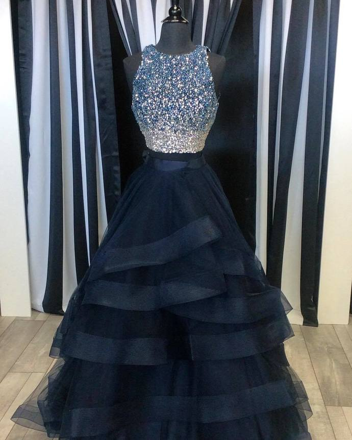 Two Pieces Black Ball Gown Real Picture Prom Dress Organza Beading ...