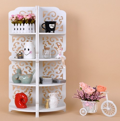 Wood Board Carved Shelf Rack Multi Layer Storage Flower Bookshelf Bathroom Corner