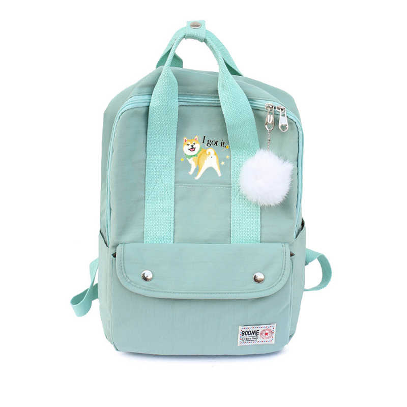 Cartoon Cute Puppy Shiba Inu Dog Print Backpack Canvas Travel Bag Laptop Schoolbag Teenager School Bags Bagpack Student Mochila